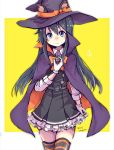 1girl animal_ears asashio_(kantai_collection) black_hair blue_eyes cat_ears cowboy_shot dated dress fake_animal_ears gloves halloween halloween_costume hat kantai_collection long_hair long_sleeves looking_at_viewer pinafore_dress pointy_hat remodel_(kantai_collection) solo striped striped_legwear thigh-highs twitter_username unagiman white_gloves witch_hat