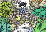 1boy black_eyes black_hair blue_flower blue_pants blue_shirt bowl bridge castle eating facial_mark flag flower fudou_yuusei highres hill holding holding_bowl holding_spoon leaf multicolored_hair pajamas pants pink_flower plant purple_flower river sand-mole shirt solo spoon streaked_hair tree yu-gi-oh! yuu-gi-ou_5d's