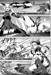 2girls absurdres action aircraft_carrier_oni anchorage_oni armored_boots artillery asymmetrical_horns bare_shoulders black_legwear blood boots collar comic dress explosion gauntlets glasses gloves greyscale highres horns injury kantai_collection long_hair metal_collar minarai monochrome multiple_girls pale_skin shinkaisei-kan short_dress speech_bubble sweat sweatdrop thigh-highs translation_request very_long_hair weapon white_hair