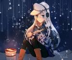 1girl black_background black_legwear blue_eyes boots brown_footwear camouflage_jacket commentary earmuffs eating feet_out_of_frame fish flat_cap grill hammer_and_sickle hat hibiki_(kantai_collection) highres kantai_collection kocona long_hair pantyhose shichirin silver_hair sitting snowflakes solo twitter_username verniy_(kantai_collection) white_hat