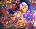 1girl :d arm_up armpits ass autumn bangs black_legwear blue_flower bug butterfly commentary_request crop_top detached_sleeves dutch_angle eyeshadow fang fate/grand_order fate_(series) flower from_behind garden headpiece heart highres insect legs_apart looking_at_viewer looking_back makeup oni_horns open_mouth purple_hair red_flower revealing_clothes rope shawl shimenawa short_hair shuten_douji_(fate/grand_order) smile solo sphere star star_print stone_lantern tea_sly thigh-highs tree violet_eyes white_flower yellow_flower