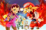 barrett_(rockman_dash) belt bike_shorts blonde_hair bon_bonne breasts brown_gloves buttons cabbie_hat commentary_request data_(rockman_dash) dinef gloves green_eyes hat jacket kobun long_hair looking_at_viewer multiple_boys open_mouth pantyhose red_jacket rockman rockman_dash roll_caskett short_sleeves shorts smile teisel_bonne tron_bonne
