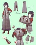 1girl adjusting_clothes armor belt black_hair character_sheet dressing fangdan_runiu helmet long_hair original simple_background soldier