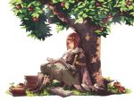 1girl against_tree ai-wa apple apple_tree bangs blunt_bangs book boots brown_footwear cape expressionless fire_emblem fire_emblem:_kakusei food fruit full_body glasses grass hat hat_removed headwear_removed highres legs_together miriel_(fire_emblem) nintendo pants quill short_hair sitting solo straight_hair tree turtleneck white_background witch_hat writing