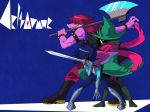 1girl 2others axe black_footwear black_hair black_nails blue_background blue_skin boots bracelet brown_hair capelet deltarune fighting_stance gauntlets green_cloak green_hat hair_over_eyes hat jewelry kris_(deltarune) multiple_others nail_polish over_shoulder pink_scarf pink_skin profile ralsei sachy_(sachichy) scarf sharp_teeth spiked_armlet spiked_bracelet spikes standing striped_capelet susie_(deltarune) sword teeth weapon yellow_teeth