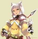 1girl absurdres animal_ears cat_ears cat_girl dress fangs gloves hand_on_hip highres knife long_sleeves nintendo niyah puffy_long_sleeves puffy_sleeves ribbon short_hair sidelocks silver_hair simple_background skeptycally smile solo standing teeth upper_body white_gloves xenoblade_(series) xenoblade_2 yellow_dress yellow_eyes yellow_ribbon