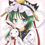 1girl :t asuka_(k-chinatsu-823) asymmetrical_hair blue_eyes blue_vest bow frilled_hat frills green_hair hat hat_ribbon holding holding_stuffed_animal looking_at_viewer pout ribbon shiki_eiki shirt solo stuffed_animal stuffed_bunny stuffed_toy touhou upper_body vest white_shirt