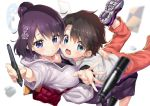 age_difference bag black_hair blue_eyes blurry blurry_background blurry_foreground breast_press casual commentary_request ekakibito fate/grand_order fate_(series) flower fujimaru_ritsuka_(male) hair_bun hair_flower hair_ornament hand_on_another's_back hug katsushika_hokusai_(fate/grand_order) long_skirt pants shirt short_hair sketchbook skirt stylus tied_hair violet_eyes white_shirt younger