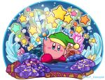 blue_eyes blush_stickers commentary_request copy_ability crystal green_hat hat holding holding_sword holding_weapon kirby kirby_(series) light ninjya_palette nintendo no_humans shadow star sword twitter_username weapon