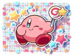 blush_stickers border candy closed_mouth commentary_request food highres holding holding_food invincible_candy kirby kirby_(series) lollipop ninjya_palette nintendo no_humans one_eye_closed shadow smile solo star white_border
