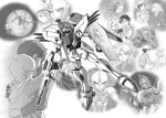 beam_rifle beam_shield carozzo_ronah cecily_fairchild couple den'an_zon energy_gun f91_gundam greyscale gundam gundam_f91 hug mask mecha monochrome moon pilot_chair rafflesia seabook_arno space spacesuit tokita_kouichi tsujitani_kouji uniform vigna_ghina weapon