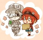 1boy 1girl ae-3803 ahoge baseball_cap black_eyes blank_eyes blush_stickers box cabbie_hat chibi collared_shirt cup denim denim_shorts flower hair_between_eyes hair_over_one_eye hand_in_pocket hat hataraku_saibou holster jacket looking_at_another misuki_op1155 name_tag open_mouth pants pink_background red_blood_cell_(hataraku_saibou) red_footwear red_hat red_jacket redhead shirt shoes short_hair shorts simple_background smile thigh_holster two-tone_background u-1146 walking white_background white_blood_cell_(hataraku_saibou) white_footwear white_hair white_hat white_pants white_shirt