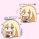 >_< 1girl :> bangs bare_arms bare_shoulders blonde_hair blue_eyes blush_stickers camisole chibi closed_eyes closed_mouth commentary_request curry curry_rice directional_arrow eyebrows_visible_through_hair food hair_between_eyes hana_kazari heart holding holding_spoon long_hair pink_background plate rice sidelocks sketch spoon takanashi_misha translated uchi_no_maid_ga_uzasugiru! white_camisole