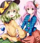 2girls :d black_hat blue_shirt blush bow eyebrows_visible_through_hair eyes_visible_through_hair frilled_shirt_collar frilled_sleeves frills green_eyes green_hair green_skirt hair_between_eyes hand_holding hat hat_bow hata_no_kokoro heart heart_of_string highres komeiji_koishi long_hair long_sleeves looking_at_viewer looking_back mask mask_on_head multiple_girls open_mouth pink_eyes pink_hair pink_skirt plaid plaid_shirt ruu_(tksymkw) shirt simple_background skirt smile touhou unmoving_pattern wide_sleeves yellow_bow yellow_shirt