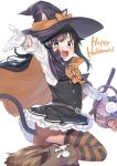 1girl :d animal_ears asashio_(kantai_collection) basket black_cape black_hair black_legwear blue_eyes bow broom broom_riding candy cape cat_ears cat_tail commentary_request cowboy_shot cropped_legs dress ebifurya food frilled_dress frills gloves grey_skirt halloween hat highres kantai_collection long_hair no_panties open_mouth orange_bow outstretched_arm pinafore_dress pleated_skirt remodel_(kantai_collection) shirt simple_background skirt smile solo striped striped_legwear tail thigh-highs v-shaped_eyebrows white_background white_gloves white_shirt witch_hat