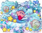 blue_eyes blush_stickers breath bronto_burt commentary_request copy_ability frozen hat ice ice_cube insect_wings kirby kirby_(series) ninjya_palette nintendo no_humans star waddle_dee wings