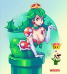 1girl ass bent_over blown_kiss blue_lipstick breasts cleavage collarbone crown detached_sleeves earrings elbow_gloves eyeshadow gloves green_collar green_hair green_legwear large_breasts lipstick long_hair makeup mario_(series) new_super_mario_bros._u_deluxe nintendo piranha_plant plant_hair puffy_short_sleeves puffy_sleeves red_eyes short_sleeves solo super_crown super_mario_bros. supersatanson warp_pipe white_gloves