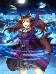 1girl aircraft animal_ears arm_up black_skirt blurry blurry_background brown_hair cape choker collarbone cowboy_shot floating_hair flower fox_ears fox_tail gigamessy helicopter highres layered_skirt long_hair long_sleeves magic_circle night original outdoors purple_cape red_flower red_rose rose skirt sky solo standing star_(sky) starry_sky tail twintails