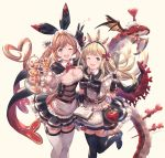 2girls ;d alternate_costume apron aqua_eyes arm_up bangs belt belt_buckle black_bow black_dress black_footwear black_gloves black_ribbon blonde_hair blue_eyes blunt_bangs book boots bow braid breasts brown_hair buckle cagliostro_(granblue_fantasy) cape clarisse_(granblue_fantasy) cleavage commentary_request cream cup cupcake djeeta_(granblue_fantasy) dragon dress elbow_gloves enmaided eyebrows_visible_through_hair feet_out_of_frame fingerless_gloves food food_on_breasts frilled_dress frills garter_straps gloves gran_(granblue_fantasy) granblue_fantasy hair_ribbon heart heart-shaped_pupils heart_hair highres holding holding_book holding_tray ice_cream large_bow long_hair looking_at_viewer lyria_(granblue_fantasy) maid maid_headdress medium_breasts milli_little multiple_girls neck_ribbon one_eye_closed open_book open_mouth ouroboros_(granblue_fantasy) pink_background pleated_dress pocky puffy_short_sleeves puffy_sleeves red_neckwear red_ribbon ribbon round_teeth shirt short_sleeves showgirl_skirt side_braid sidelocks simple_background single_braid smile standing standing_on_one_leg sundae sweets symbol-shaped_pupils tea teacup teapot teeth test_tube thigh-highs thigh_boots tray twitter_username upper_body v very_long_hair waist_apron whisk white_apron white_legwear white_shirt wrist_ribbon zettai_ryouiki
