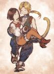 1boy 1girl black_hair blonde_hair bodysuit breasts commentary_request final_fantasy final_fantasy_ix garnet_til_alexandros_xvii gloves maekakekamen medium_hair open_mouth orange_bodysuit smile tail zidane_tribal