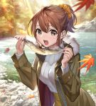 1girl autumn autumn_leaves brown_eyes brown_hair coat falling_leaves fish forest fur_trim leaf looking_at_viewer nature open_clothes open_mouth original outdoors pond ponytail ribbed_sweater scrunchie sweater teffish