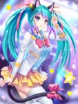 1girl animal_ears bell blue_hair blue_shirt bow bowtie card cat_ears cat_girl cat_tail choker dress_shirt floating_hair from_side gigamessy hair_bell hair_ornament hair_ribbon holding holding_card jacket long_hair long_sleeves miniskirt open_clothes open_jacket original pink_bow pink_ribbon pleated_skirt ribbon shirt skirt solo tail tail_bow thigh-highs twintails very_long_hair white_jacket white_legwear yellow_skirt zettai_ryouiki