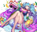 1girl arcade_sona arm_warmers artist_request blue_eyes blue_hair bra breasts clam_shell cleavage fingerless_gloves gloves gradient_hair hair_ornament high_heels highres huge_breasts innertube league_of_legends lipstick lobster long_hair makeup midriff multicolored_hair nail_polish pink_hair purple_bra sona_buvelle star star_hair_ornament starfish tagme twintails underwear very_long_hair