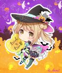 ascot bat bat_wings black_cape black_gloves black_hat blue_footwear candy cape castle chibi chou2 closed_mouth commentary_request cross food garter_straps gloves green_ribbon hair_bun halloween halloween_costume hat heart highres jack-o'-lantern kantai_collection light_brown_hair looking_at_viewer michishio_(kantai_collection) moon pink_cape pink_ribbon ribbon short_twintails shorts silk spider_web striped striped_legwear thigh-highs top_hat trick_or_treat twintails twitter_username wings witch_hat yellow_eyes