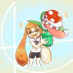 >:d 1girl 1other bangs bike_shorts blunt_bangs blush domino_mask fangs gradient gradient_background highres holding inkling mario_(series) mask nintendo nintendo_ead open_mouth orange_eyes orange_hair piranha_plant plant pointy_ears saliva shirt sidelocks smile sora_(company) splatoon squid_girl super_mario_bros. super_smash_bros. super_smash_bros._ultimate t-shirt tentacle_hair thick_eyebrows tongue tongue_out white_shirt yellow_kirby