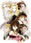 alfyn_(octopath_traveler) artist_request blonde_hair bracelet braided_ponytail cloak cyrus_(octopath_traveler) fringe_trim green_hair h'aanit_(octopath_traveler) hair_over_one_eye jewelry linde_(octopath_traveler) multiple_girls necklace octopath_traveler olberic_eisenberg ophilia_(octopath_traveler) ponytail primrose_azelhart scar scard short_hair simple_background smile therion_(octopath_traveler) tressa_(octopath_traveler) white_hair
