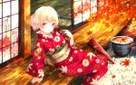 1girl 2018 alternate_hairstyle arm_support arm_up autumn autumn_leaves bang_dream! bangs blonde_hair blush braid bug closed_mouth collarbone commentary_request day dragonfly dress eyebrows_visible_through_hair floral_print flower glint hair_flower hair_ornament hair_up half_updo hat highres insect japanese_clothes kimono long_hair long_sleeves looking_at_viewer masa_(mirage77) obi outdoors parasol partial_commentary petals pink_eyes pink_flower plaid plaid_skirt print_kimono red_hat red_kimono red_ribbon ribbon rock sash shirasagi_chisato shirt simple_background single_braid sitting skirt sliding_doors smile solo tatami umbrella vase violet_eyes wallpaper white_shirt wood