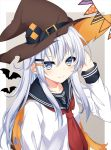 1girl anchor_symbol arm_up bangs black_belt black_sailor_collar blush brown_hat buckle cape collarbone gradient gradient_background grey_eyes hair_between_eyes hair_ornament hairclip halloween hand_behind_head hat hat_belt hibiki_(kantai_collection) hikobae kantai_collection long_hair long_sleeves looking_at_viewer neckerchief red_neckwear sailor_collar school_uniform serafuku silhouette silver_hair smile solo string_of_flags torn_cape torn_clothes torn_hat upper_body witch_hat