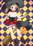 1girl absurdres arm_garter bare_shoulders blush boots broom broom_riding brown_hair checkered checkered_background choker collarbone corset creatures_(company) dirndl film_grain frilled_skirt frills game_freak gen_3_pokemon german_clothes halloween halloween_costume haruka_(pokemon) hat highres looking_down nintendo open_mouth pokemon pokemon_(creature) pokemon_(game) pokemon_oras shadow skirt surprised torchic underbust violet_eyes witch witch_hat yuihiko