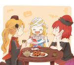 >_< 3girls :d alternate_hairstyle bandage bandaged_head bandages bare_shoulders bat black_dress black_hat black_shirt blonde_hair closed_eyes clownpiece commentary_request cup dress halloween hat hecatia_lapislazuli highres holding holding_cup jack-o'-lantern junko_(touhou) long_hair long_sleeves miniskirt multicolored multicolored_clothes multicolored_skirt multiple_girls neck_ruff off-shoulder_shirt open_mouth plate polos_crown ponytail redhead rome35793562 scissors shirt sitting skirt smile star star_print striped t-shirt tabard table teapot toilet_paper touhou wide_sleeves xd yunomi