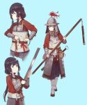 1girl adjusting_clothes armor belt black_hair character_sheet dressing fangdan_runiu helmet long_hair original simple_background soldier staff strap_pull sword weapon
