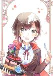 1girl :d blue_flower blue_rose brown_hair cake cape emo_(ricemo) eyebrows_visible_through_hair flower food food_on_face fork grey_eyes hair_between_eyes holding holding_fork holding_plate looking_at_viewer neck_ribbon open_mouth plate red_cape red_flower red_ribbon ribbon rose ruby_rose rwby shirt short_hair smile solo twitter_username upper_body white_shirt