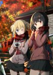 2girls ;o autumn_leaves bag bangs black_hair black_sailor_collar black_skirt blonde_hair blue_sky blurry blurry_background blush brown_cardigan camera cardigan chijou_noko chikanoko closed_mouth commentary_request day depth_of_field eyebrows_visible_through_hair flower hair_between_eyes hair_flower hair_ornament hands_up holding holding_camera leaf long_hair long_sleeves looking_at_viewer maple_leaf multiple_girls one_eye_closed outdoors parted_lips plaid plaid_scarf pleated_skirt ragho_no_erika railing red_neckwear red_scarf sailor_collar scarf school_bag school_uniform short_twintails skirt sky sleeves_past_wrists smile stairs standing stone_stairs twintails uchino_chika white_flower
