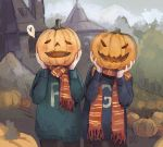 2boys artist_name building clothes_writing commentary_request cowboy_shot day fairyapple fred_weasley george_weasley grey_sky hands_up harry_potter heart holding house looking_at_viewer multiple_boys open_mouth outdoors pumpkin pumpkin_on_head russian_commentary scarf smile spoken_heart standing sweater
