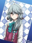 1girl ahoge argyle argyle_background artist_name bangs black_bow black_ribbon blue_bow blue_neckwear blush bow bowtie braid check_commentary collared_shirt commentary_request dated dress eyes_visible_through_hair grey_hair h2_(h20000000) hair_bow hair_over_eyes hair_over_shoulder hair_ribbon hamanami_(kantai_collection) highres kantai_collection long_hair long_sleeves looking_at_viewer outline partial_commentary pleated_dress purple_dress revision ribbon school_uniform shirt single_braid smile solo tress_ribbon umbrella upper_body white_outline white_shirt yellow_eyes