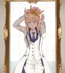 1girl ahoge artoria_pendragon_(all) blonde_hair blue_neckwear cowboy_shot crown fate/grand_order fate_(series) formal green_eyes long_sleeves looking_at_mirror looking_at_viewer mario_(series) mirror necktie new_super_mario_bros._u_deluxe nintendo open_mouth pants reflection ryu_jiao saber solo suit super_crown white_coat white_pants