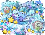 alternate_color blue_eyes blush_stickers breath bronto_burt commentary_request copy_ability frozen hat ice ice_cube insect_wings kirby kirby_(series) ninjya_palette nintendo no_humans star waddle_dee wings