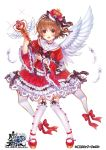 1girl :d bangs blush bow bow_legwear bowtie breasts brown_bow brown_hair center_frills commentary_request copyright_name crown crystal dress eyebrows_visible_through_hair feathered_wings feathers frilled_dress frilled_sleeves frills full_body fur_trim garter_straps garters gem hair_bow hair_ornament hairband heart heart_cutout heart_hair_ornament holding holding_staff koga_tsubasa lolita_fashion lolita_hairband long_sleeves magical_girl medium_breasts official_art one_side_up open_mouth petticoat puffy_sleeves red_dress red_eyes red_footwear ruby_(stone) sailor_dress sakura_moyon shoes short_hair simple_background single_wing single_wrist_cuff smile solo sparkle staff standing the_caster_chronicles thigh-highs white_background white_legwear white_wings wide_sleeves wings wrist_cuffs