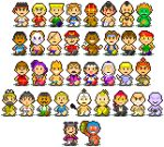 6+boys 6+girls bald black_hair blanka blonde_hair brown_hair cammy_white capcom chun-li commentary_request dhalsim double_bun eyepatch gouki guile headband ken_masters looking_at_viewer mask mother_(game) mother_2 multiple_boys multiple_girls nintendo picosaru pixel_art purple_hair ryuu_(street_fighter) shirtless simple_background smile street_fighter tied_hair vega white_background zangief