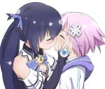 2girls bangs bare_shoulders blush breasts bridal_gauntlets choujigen_game_neptune cleavage closed_eyes d-pad d-pad_hair_ornament eyebrows_visible_through_hair hair_ornament hair_ribbon hand_on_another's_cheek hand_on_another's_face highres hood hood_down kiss long_hair medium_breasts miruzawa_akechi multiple_girls neptune_(choujigen_game_neptune) neptune_(series) noire purple_hair ribbon short_hair twintails yuri
