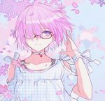 1girl black-framed_eyewear blue_eyes cherry_blossoms choker collarbone fate/grand_order fate_(series) floating_hair glasses hair_over_one_eye mash_kyrielight pink_hair shirt short_hair short_sleeves shoulder_cutout solo upper_body white_shirt yaoshi_jun