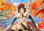 1girl architecture autumn autumn_leaves black_hair black_legwear black_neckwear black_skirt black_wings blue_sky boat bow bowtie buttons collared_shirt day east_asian_architecture feathered_wings hand_up hat head_tilt knees_together_feet_apart lake leaf looking_at_viewer maple_leaf matsuda_(matsukichi) miniskirt moss mountain outdoors pom_pom_(clothes) puffy_short_sleeves puffy_sleeves red_eyes red_hat reflection shameimaru_aya shirt short_sleeves simple_background skirt sky smile socks tokin_hat touhou tree water watercraft waterfall white_shirt wind wing_collar wings