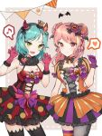 2girls :d absurdres alternate_hairstyle aqua_hair bang_dream! bangs beige_background black_bow black_legwear black_neckwear black_ribbon blush bow bowtie breast_tattoo breasts candy_earrings candy_hair_ornament churi_(oxxchurixxo) claw_pose cleavage clenched_hand cross-laced_clothes crown demon_horns double_bun dress fang food_themed_hair_ornament frills fur_collar ghost gloves green_eyes hair_bow hair_ornament hair_ribbon hairband halloween halloween_costume hand_up hands_up head_wings heart highres hikawa_hina horns jack-o'-lantern jack-o'-lantern_hair_ornament jack-o'-lantern_print long_hair looking_at_viewer maruyama_aya mini_crown mismatched_legwear multiple_girls musical_note navel_cutout open_mouth overskirt pennant pink_eyes pink_gloves pink_hair pink_ribbon polka_dot polka_dot_bow polka_dot_dress purple_bow purple_gloves purple_ribbon red_ribbon ribbon short_hair short_sleeves small_breasts smile spoken_heart spoken_musical_note string_of_flags striped striped_legwear tattoo thigh-highs vertical-striped_dress vertical_stripes