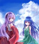 2girls arms_behind_back artist_name blue_hair chikuwa_savi clouds commentary_request detached_sleeves dress furude_rika green_dress grin hakama hanyuu higurashi_no_naku_koro_ni horns japanese_clothes long_hair looking_back miko multiple_girls open_mouth outdoors purple_hair signature sky smile sundress violet_eyes