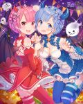 2girls :d blue_dress blue_eyes blue_hair blue_legwear blush breasts chagoon choker claw_pose copyright_name demon_horns demon_tail demon_wings detached_sleeves dress eyebrows_visible_through_hair fang frilled_sleeves frills full_moon garter_straps ghost halloween head_tilt highres horns jack-o'-lantern legs_up long_sleeves looking_at_viewer maid_headdress medium_breasts mismatched_legwear moon multiple_girls open_mouth pink_hair puffy_long_sleeves puffy_sleeves ram_(re:zero) re:zero_kara_hajimeru_isekai_seikatsu red_dress red_eyes red_legwear rem_(re:zero) short_hair siblings smile sparkle star striped striped_legwear tail thigh-highs twins v-shaped_eyebrows wide_sleeves wings