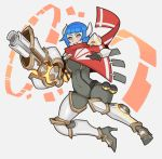 1girl armored_boots battlerite blue_hair bodysuit boots cannon cape covered_navel destiny_(battlerite) grey_background hair_ornament solo splashbrush teeth yellow_eyes